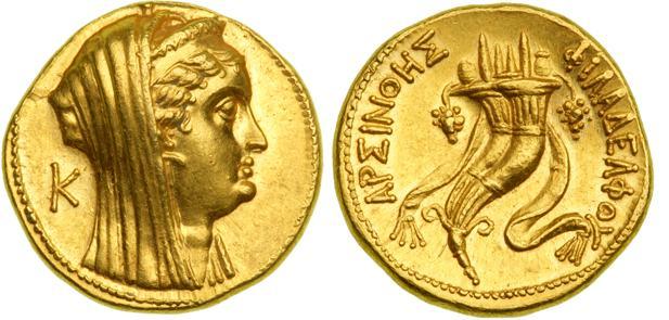 egypt  arsinoe ii - ancient greek coins