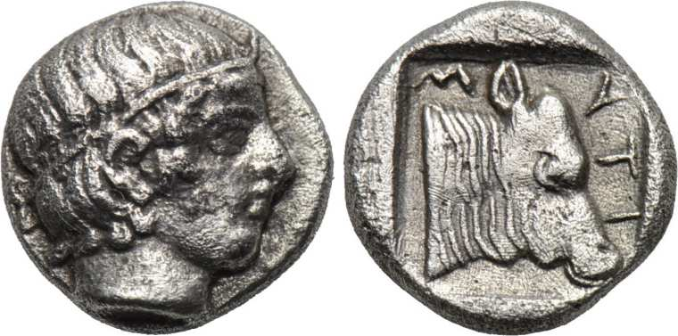 Ancient Greece 400-350 Bc Lesbos Mytilene Silver Diobol Apollo Aphrodite Coins & Paper Money