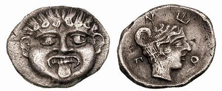 óbolo acuñado en Pamfilia, entre el 420 al 360 a. SNGANS_430.2