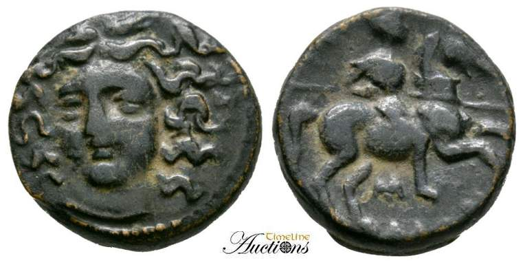 Greek (450 Bc-100 Ad) Thessaly Larissa ΛΑΡΙΣΑΙΩΝ Nymph Horse Chalkous Ae 14 Nice Coin Coins & Paper Money