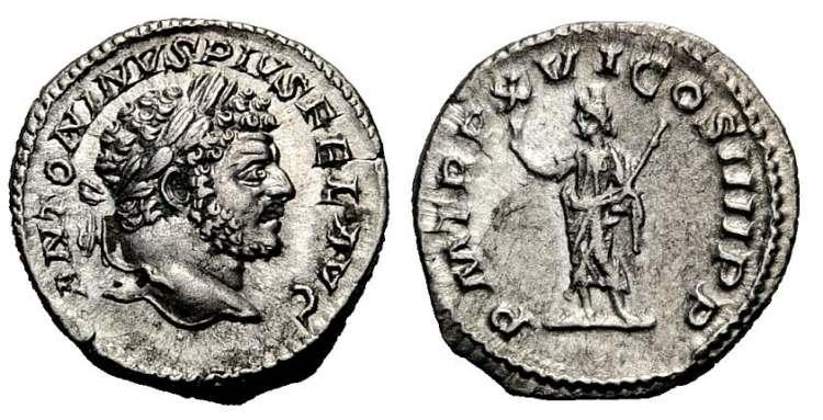 Denario de Caracalla (P M TR P XVI-COS IIII PP ) RIC_0208b.2