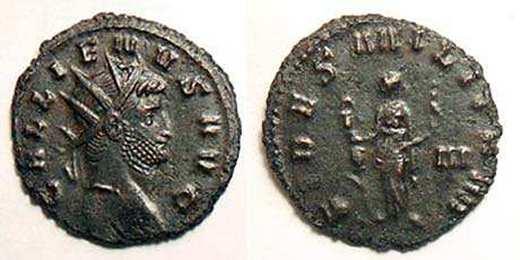 Antoniniano 'repintado' de Galieno. FIDES MILITVM. Mediolanum RIC_0192A