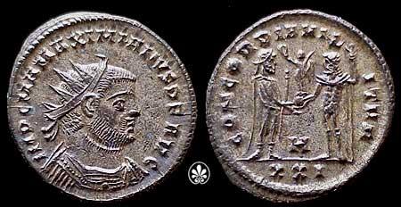 Aureliano de Maximiano Hércules. CONCORDIA MILITVM.  Antioquía  RIC_0621,H