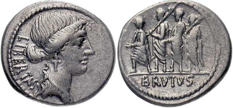 marcus junius brutus denarius 54 bc libertas head of liberty