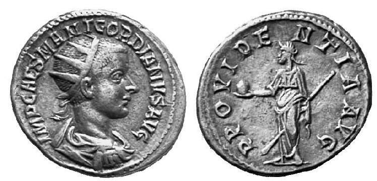Antoniniano de Gordiano III. PROVIDENTIA AVG. Roma RIC_0193