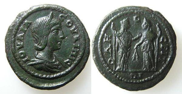 Julia Soaemias, mother of Elagabalus.   Roman Imperial Coins